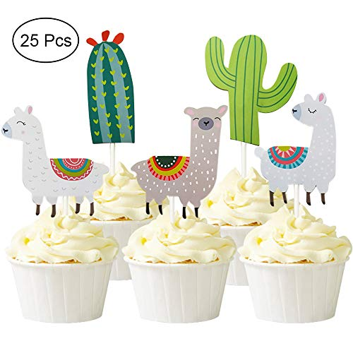 (Alexless 25 Pcs Cute Llama and Cactus Cupcake Toppers Alpaca Cupcake Picks for Mexican Fiesta Theme Party, Baby Shower Birthday Party)