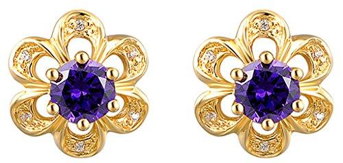 AnaZoz Femme Boucle d'Oreille 18K Plaqué Or Élégant Fleur Forme Charme Simple Oxyde de Zirconium Cristal Violet Pendant d'Oreille Pour Elle 1.5*1.6CM