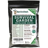 Survival Garden 15,000 Non GMO Heirloom Vegetable Seeds Survival Garden 18 Variety Pack by Open Seed Vault