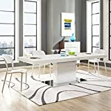 expandable dining table Modway EEI-2870-WHI-SLV Vector Expandable Dining Table White/Silver