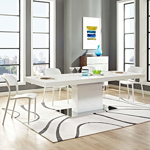 "Modway Vector 71"" to 95"" Contemporary Modern Expandable Dining Table in White Silver"