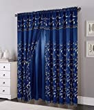 Cheap Elegant Comfort Luxury Curtain/Window Panel Set with Attached Valance and Backing 54″ X 84 inch (Set of 2), Navy
