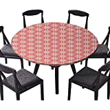 """Easy-Care Cloth Tablecloth Simplistic Linear Sunflower Tied Bound Crochet Damask Floral Lace Tiles Motif Orange White for Home, Party, Wedding 31.5""""-35.5"""" Round (Elastic Edge)"""