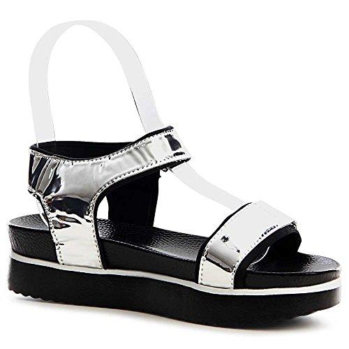 Sandales Topschuhe24 Femmes Topschuhe24 Topschuhe24 Femmes Sandalettes Sandalettes Femmes Argent Argent Sandales BqywnqP8E