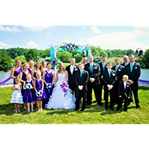 17pc Wedding Bridal Party Bouquets Boutonniere - Turquoise, Purple, Silver - Silk Roses Flowers 10