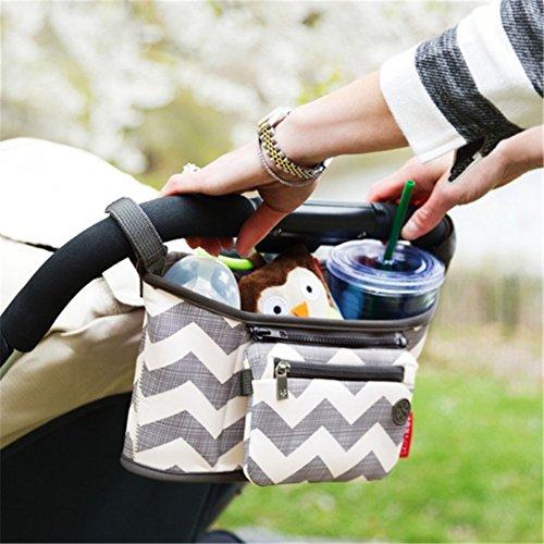 Interesting® Universal Travel Baby Pram Almacenamiento Bolsa Diaper Cochecito Organizador Cochecito Botella Cesta ondulaciones