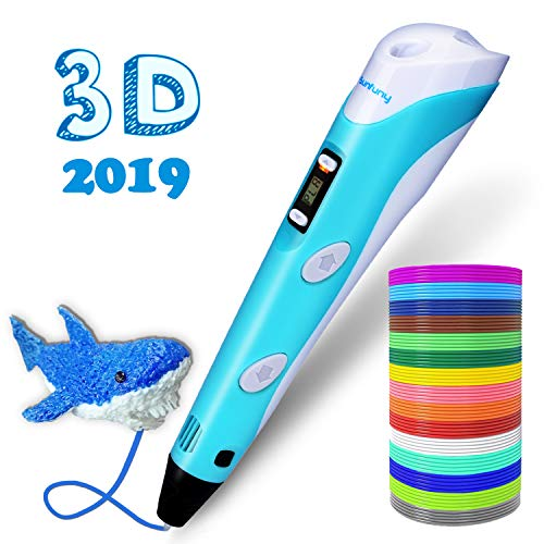 Sunfuny 3D Pen, 3D Printing Doodler Pen with LCD Screen and 150 Feet 15 Color 1.75mm PLA Filament Refill, Holiday Gift 3D Drawing Printer Pen for Kids Adult Artist, Stepless Speed, Blue