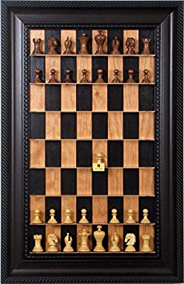 Unique Chess pieces on vertical wall mounted Black Cherry Straight Up Chess board with Brown Traditional Frame