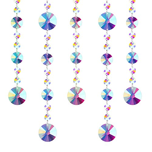 Fushing 5 Pcs Colored Crystal Chandelier Wedding Beads Strands for Chandelier Home Party Wedding Christmas Decoration (1ft, Style 1) ()