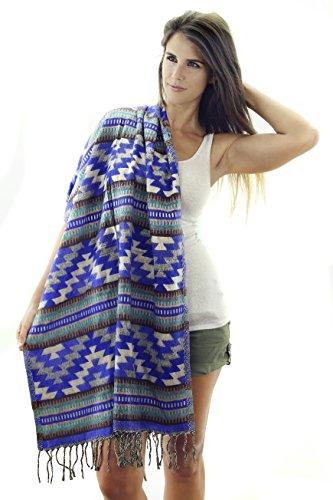 Women's Southwest & Native American Style Shoulder Wrap Fringed Pashmina Shawl (Inca Wrap)