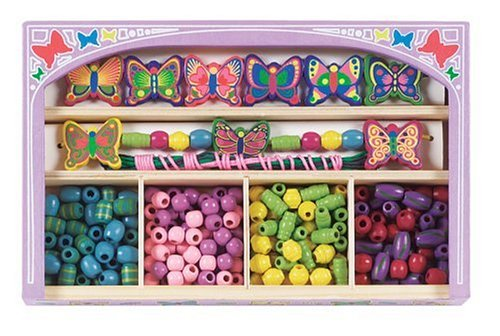 Melissa & Doug Butterfly Wooden Bead Set With 150+ Beads and Cords for Jewelry-Making Melissa & Doug Butterfly Jewelry