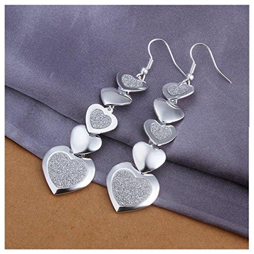 NYKKOLA Fashion Jewelry Beautiful 925 Silver Heart to Heart Pendant Hook Earrings (Beautiful Mens Jewelry)