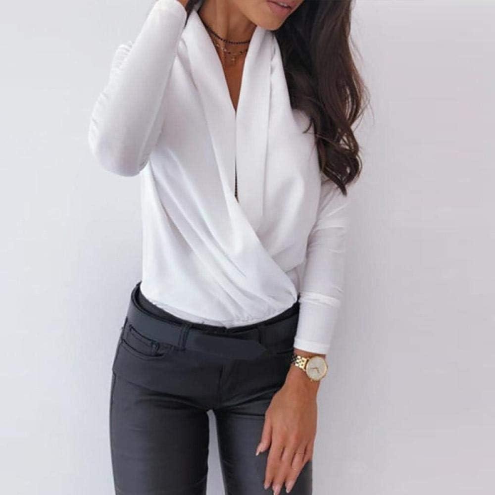 CDDKJDS المرأة البلوزات الكشكشة فضفاضة أنيقة خمر عارضة المرقعة زائد أحجام بلايز مكتب قمصان الربيع الخريف (اللون: أبيض، الحجم: M)