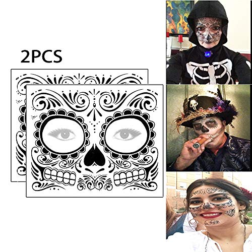 2Pcs Day Of The Dead Face Tattoos Sugar Skull Temporary Tattoo Skeleton Design Floral Realistic Skeleton Face Tattoo Kit -