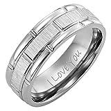 Willis Judd Men's Titanium Ring Engraved I Love You with Velvet Gift Box