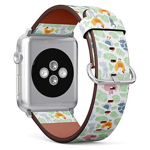 Compatible with Big Apple Watch 42mm & 44mm Leather Watch Wrist Band Strap Bracelet with Stainless Steel Clasp and Adapters (Farm Animals)