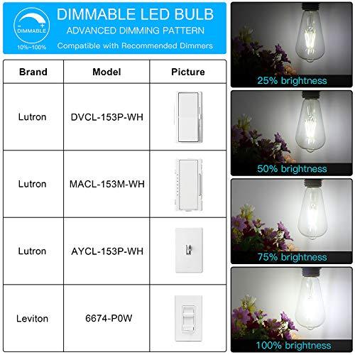 LED Edison Bulb Dimmable, Daylight White 5000K, SHINE HAI 4W ST64 Vintage LED Filament Light Bulbs, 40W Equivalent, E26 Medium Base, Pack of 12 by SHINE HAI (Image #6)