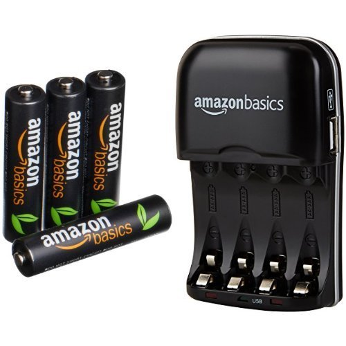 AmazonBasics AAA High-Capacity Rechargeable Batteries (4-Pack) and Ni-MH AA & AAA Battery Charger With USB Port Set