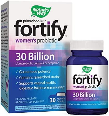 Nature's Way Primadophilus Fortify Women's Probiotic, 30 Billion Live Cultures,Acidophilus, Guaranteed Potency, Researched Strains, Delayed Release, 30 Vegetarian Capsules, Gluten-Free