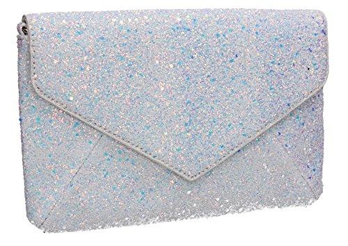 Envelope Womens Zuri Glitter Slim Prom Party Bag Clutch SWANKYSWANS Wedding Silver Ladies IqRxwqH