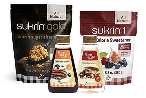 Sukrin Sweetener Kit - 4 Items: Sukrin Gold, Sukrin:1, Sukrin Fiber Syrup Gold, Sukrin Fiber Syrup Clear