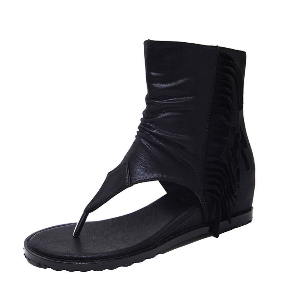 Mysky Summer Popular Women Retro Cool Fringe Zipper Short Boots Ladies Casual Clip Toe Solid Color Sandals Black