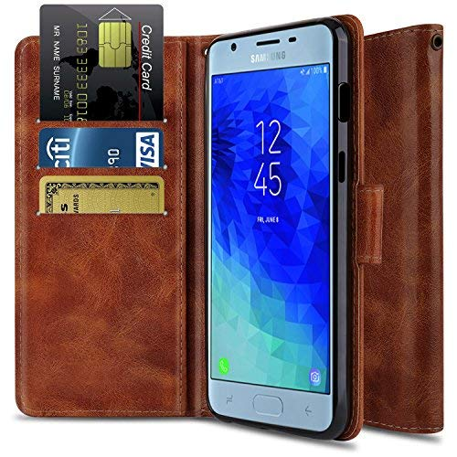 Galaxy J3 2018 J337/J3 Achieve/J3 Star/Express Prime 3/J3 V 3rd Gen/J3 Orbit Case, OTOONE[Flip Folio] Shock Proof PU Leather Wallet with Card Holder Protective Cover for Phone Samsung (Bronze)