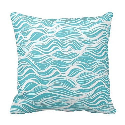 Whimsical Ocean Wave Aqua Blue Reversible Pillow Case 18x18