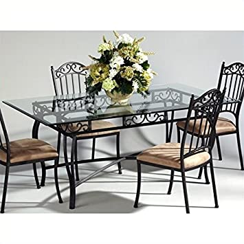 5e2defdb1a6a Chintaly Rectangular Glass Top Wrought Iron Table in Antique Taupe   Amazon.ca  Home   Kitchen