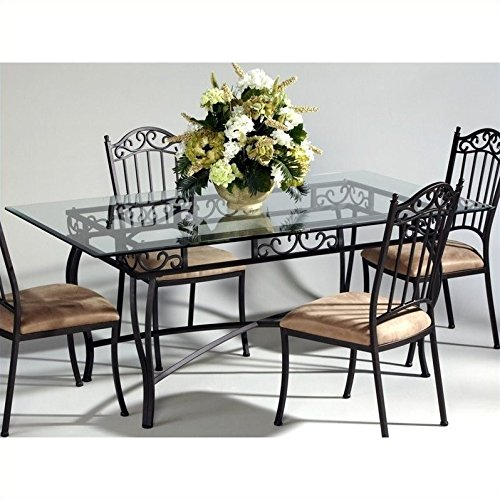 Chintaly Rectangular Glass Top Wrought Iron Table In Antique Taupe
