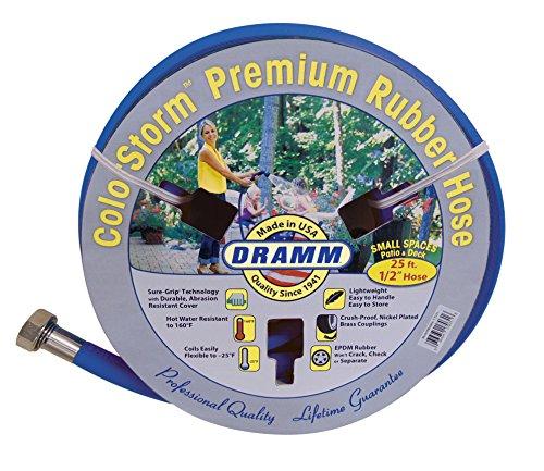 Dramm 17035 ColorStorm Premium Rubber Garden Hose, 1/2″ X25′, Blue