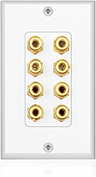 TNP Home Theater Speaker Wall Plate Outlet - 9 Speaker Sound Audio  Distribution Panel Gold Plated Copper Banana Plug Binding Post Connector  Insert