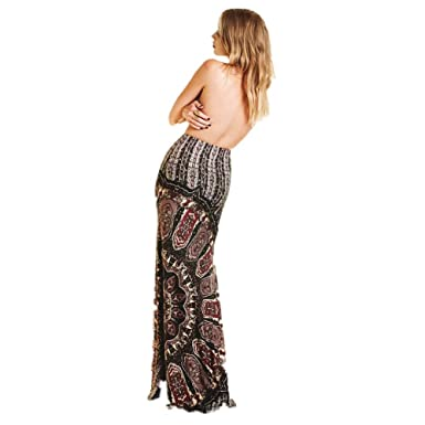 08e6534f29 Women's Maxi Dresses Summer Casual Retro Boho Tribal Floral Gypsy Beach Long  Skirt Fishtail Skirts at Amazon Women's Clothing store: