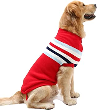 M//Red Petneces Dog Jumper Large Warm Winter Dog Sweaters Pet Clothes for Christmas