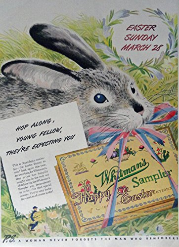 Whitman's Sampler Happy Easter Candy, 40's Print Ad. Full Pa