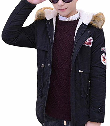 Lined Quilted Thicken blue Jacket Fleece Coat Long Hooded Navy Outdoor UK Mens today wqBpUTn