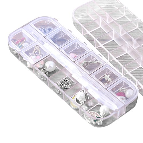 (BB67 Transparent Plastic Jewelry Box Mini Jewelry Small Case for Earrings Ring Necklace Treasure Gift Home Decoration Ornaments Grids)