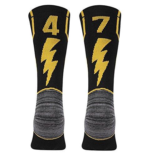KitNSox Black Number Crew Socks, Youth Teens Custom Football