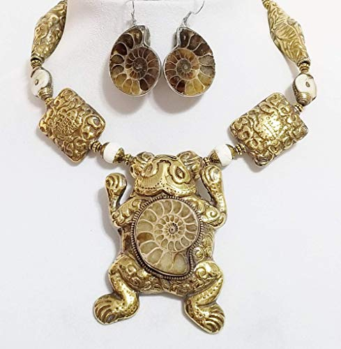 Big Nepal Brass Frog Pendant Ammonite Fossil Conch Shell Gemstone Beads Necklace Earrings One of a Kind