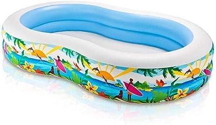 SUWIN Piscina Inflable de la Familia Colorida, Piscina para Adultos en Forma de 8 para Adultos, Piscina de Arena para baño de Fiesta de Verano, Piscina Infantil de Bolas para el océano: