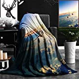 "Nalagoo Unique Custom Flannel Blankets Commercial Airplane Flying Above Clouds In Dramatic Sunset Light Super Soft Blanketry for Bed Couch, Twin Size 60"" x 70"""