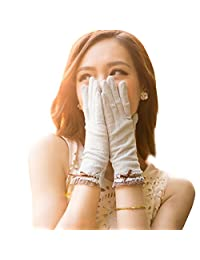 Nappaglo Women's Lace Sunscreen Driving Gloves Touchscreen Outdoor for Summer