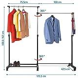 Tatkraft Twins Adjustable Double Garment Rack Clothing Rail with Wheels 100-175.5x42.5x103.5-167cm Chromed Steel