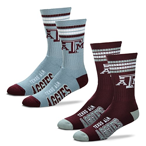 (For Bare Feet Men's 4 Stripe Deuce Crew Socks-Texas A&M Aggies-Large-2 Pack)