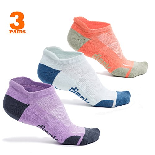 dimok Athletic Running Socks - No Show Wicking Blister Resistant Long Distance Sport Socks for Men and Women (Mixed1, Medium)