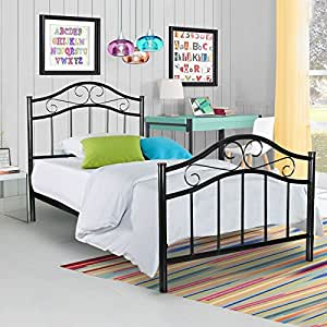 Kingpex metal platform bed frame twin size for Bedroom furniture amazon