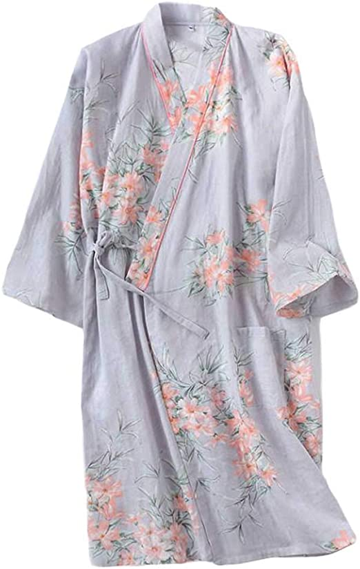 Kimono de Estilo japonés Yukata Mujer Floral Albornoz Ropa de Dormir Pijama para el hogar, Gris: Amazon.es: Hogar