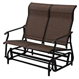 2 Person Glider Rocking Bench Double Chair Loveseat Patio Tan Armchair