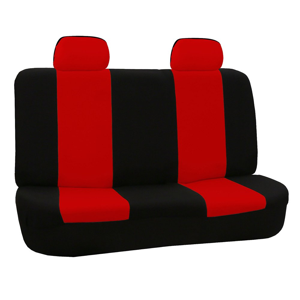 FH Group FB050RED012 Red Fabric Bench Car Seat Cover with 2 Headrests