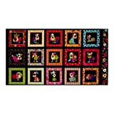 Loralie Designs Dog Happy 23.5in Panel Multi Fabric, Gold/Red/Black